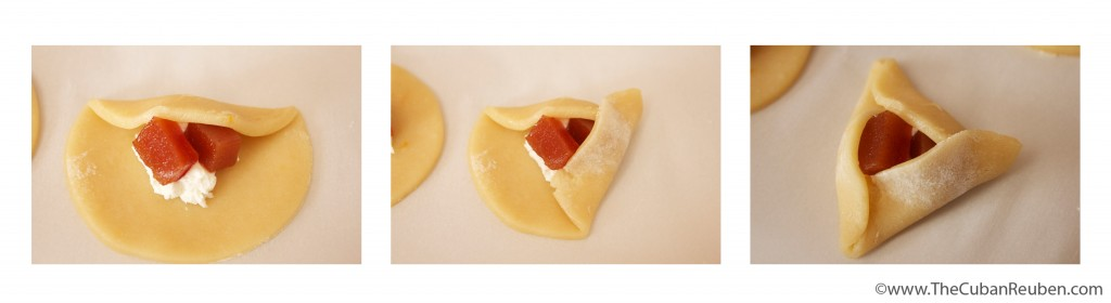 The three-step folding of a hamantaschen