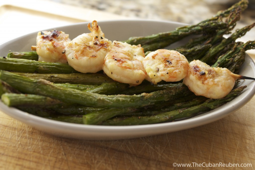 Grilled Honey lime Shrimp and Asparagus