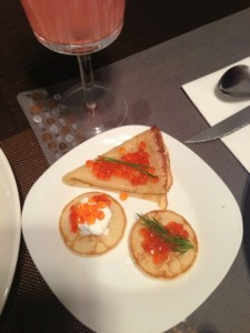 Blini with red caviar.  Photo by Nat G.