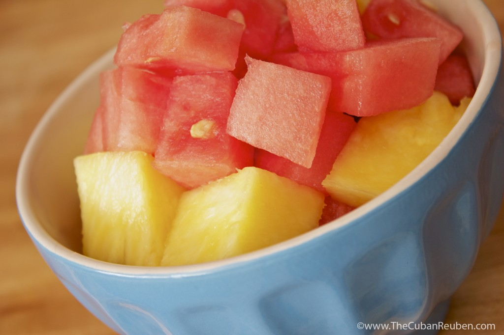 cut pineapple and watermelon