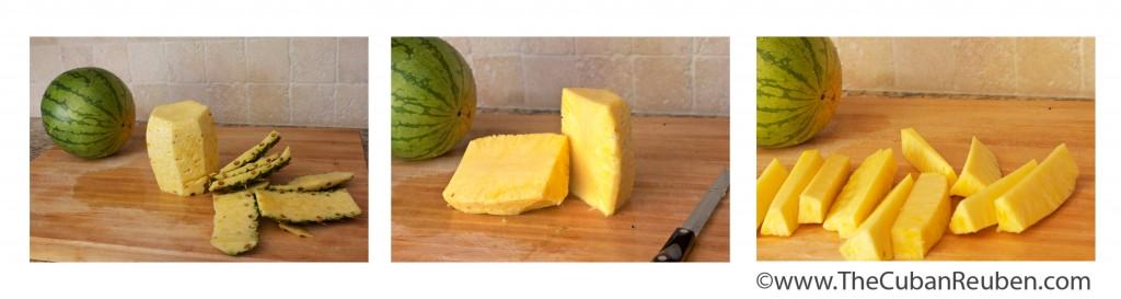 cut pineapple. step 3