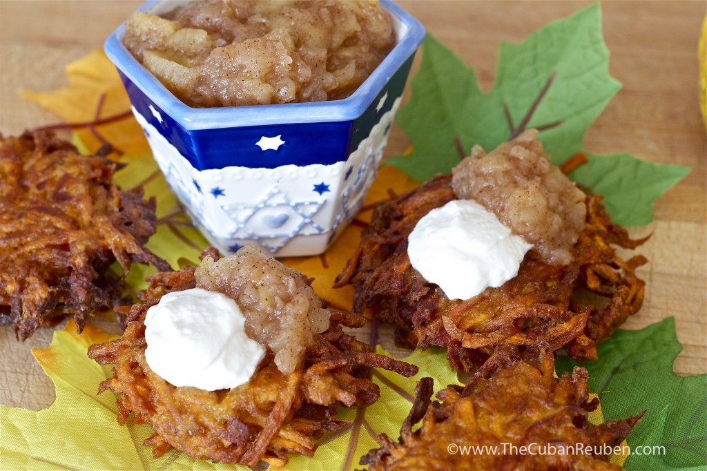Sweet Potato Latkes with Spiced Applesauce