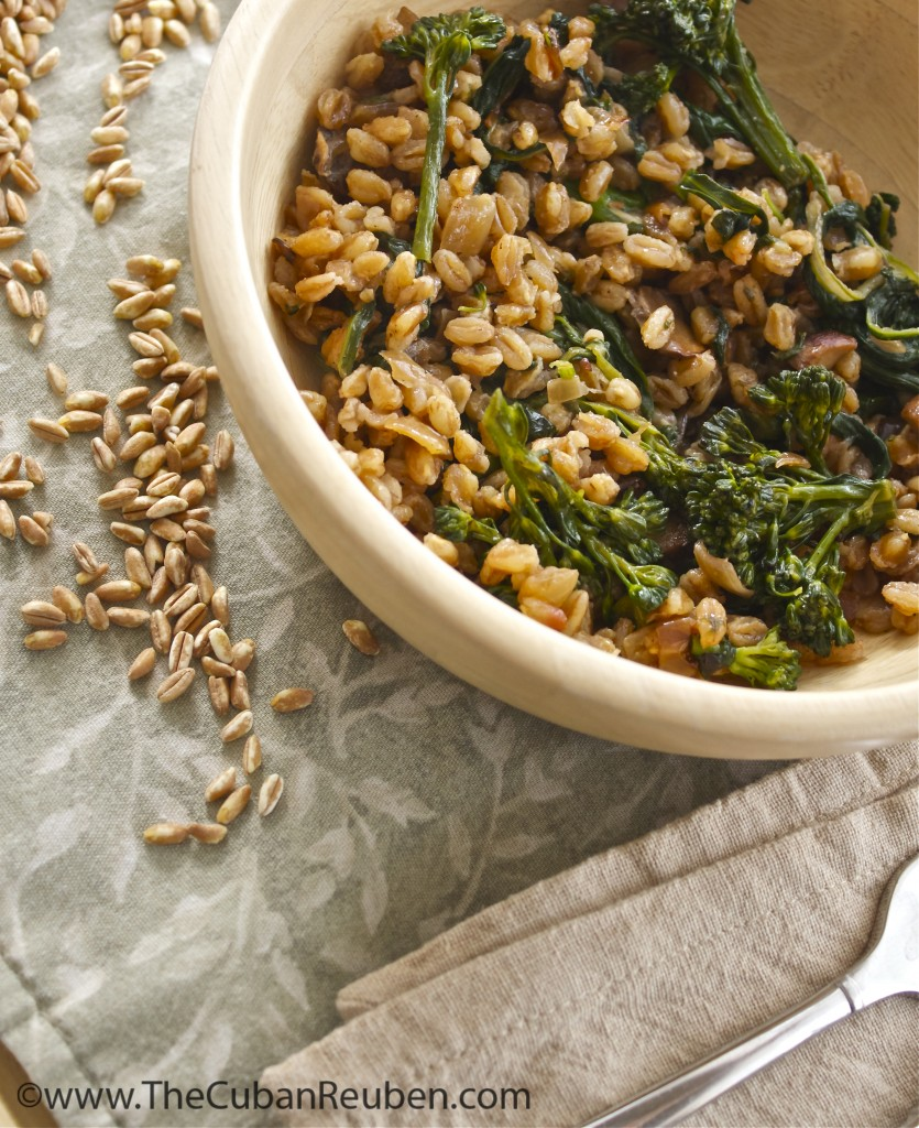 Farro with broccolini and mushrooms