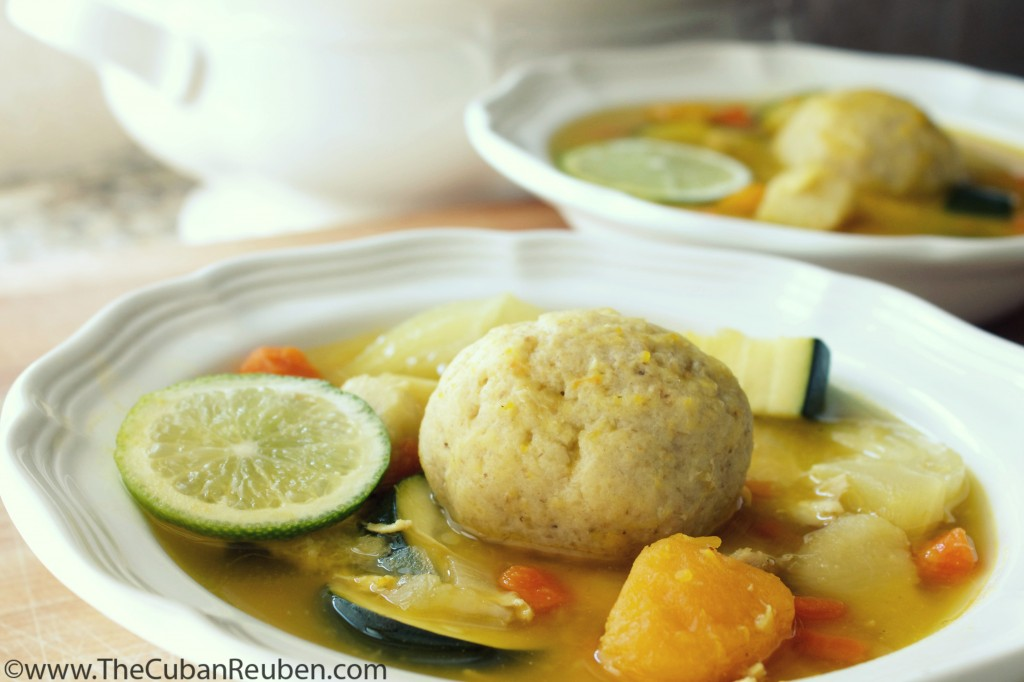 Cuban Matzoh Ball Soup - close up marked