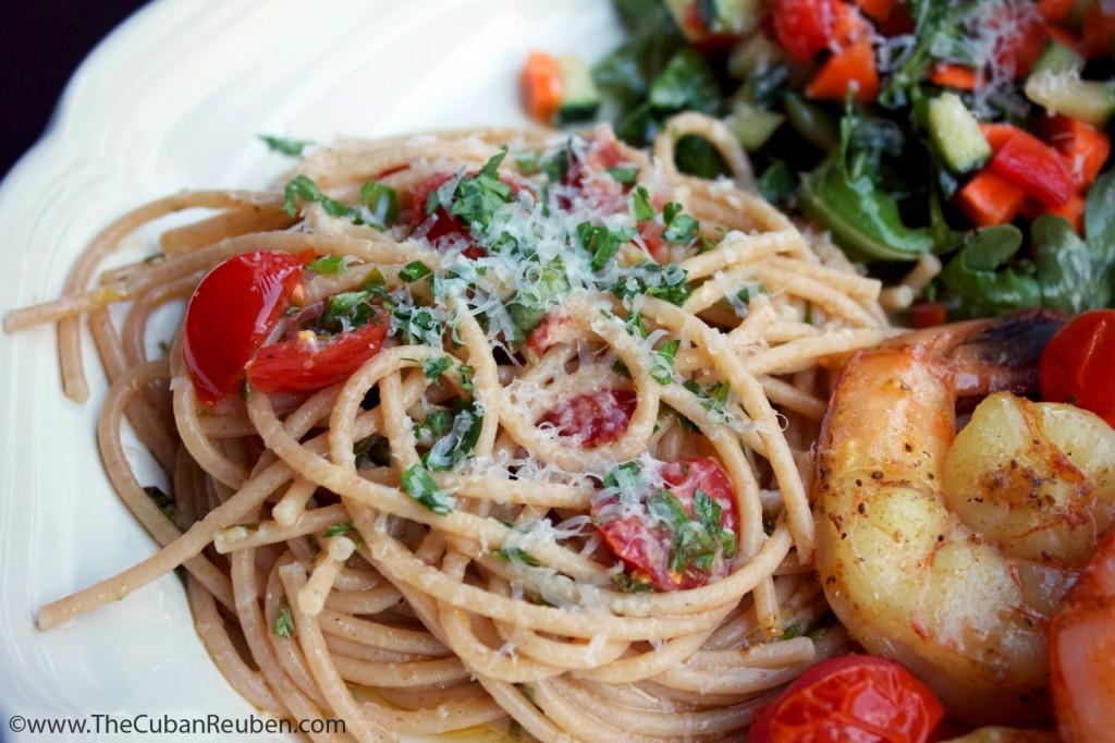 Spaghetti with Salsa Cruda .TheCubanReuben.com