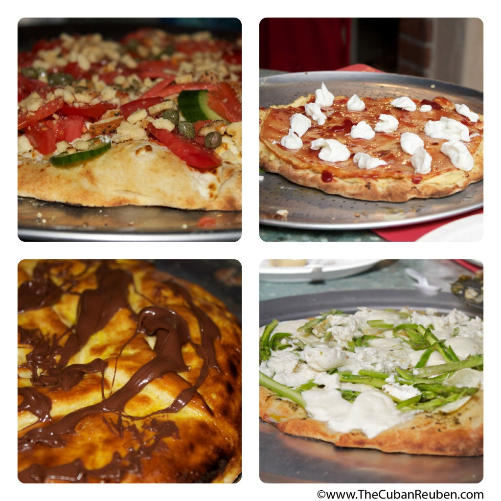 Some of the amazing pizzas featured (clockwise from top left: Bagel and lox pizza, cheese blintz pizza, asparagus and cheese omelette with brown butter pizza, chocolate croissant pizza).