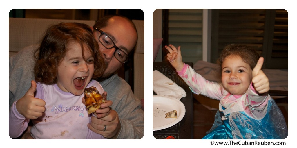 Even the kids were in on the action. These two gave the chocolate croissant pizza two thumbs up!