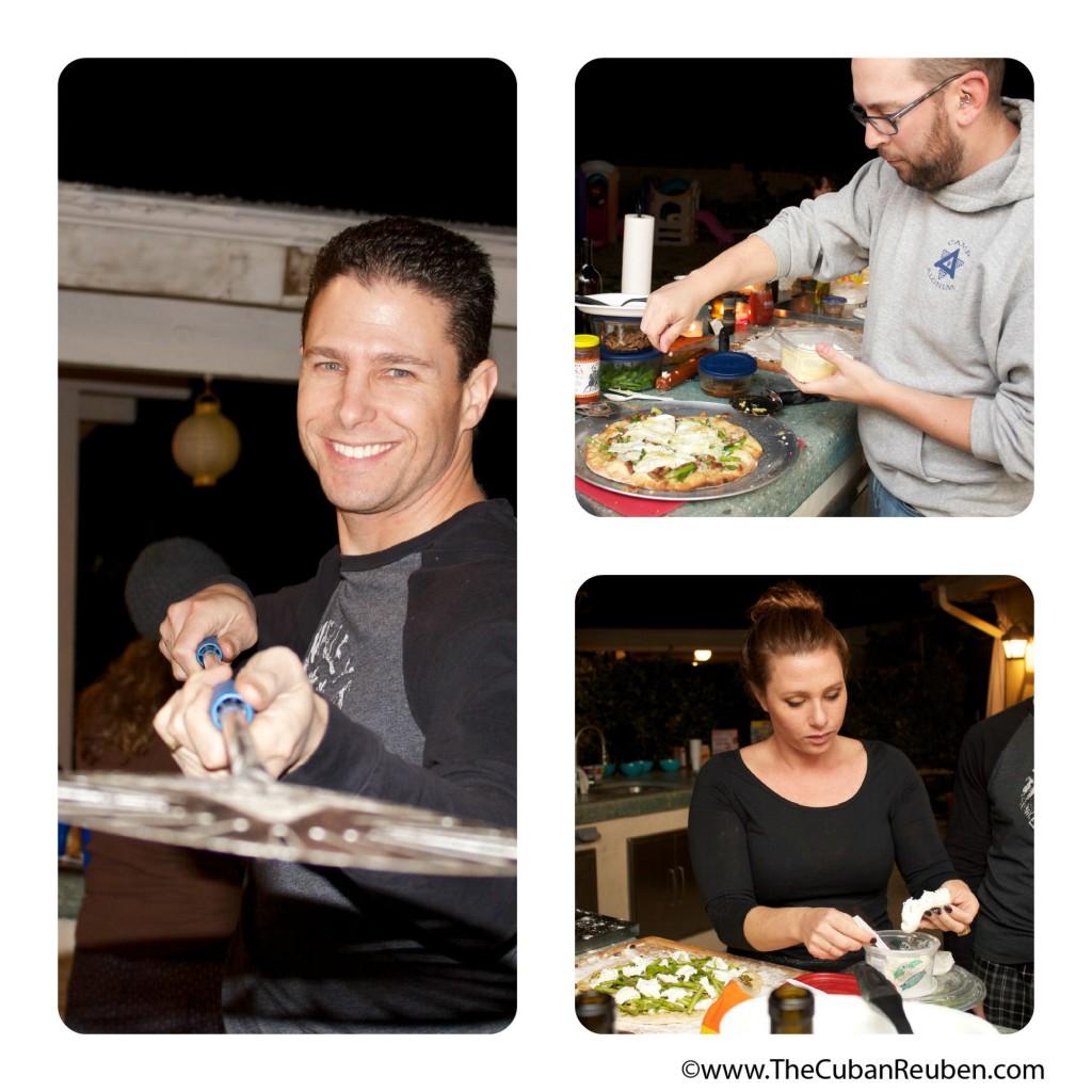 Matt, David, and Jessie prep the tasty pizzas.