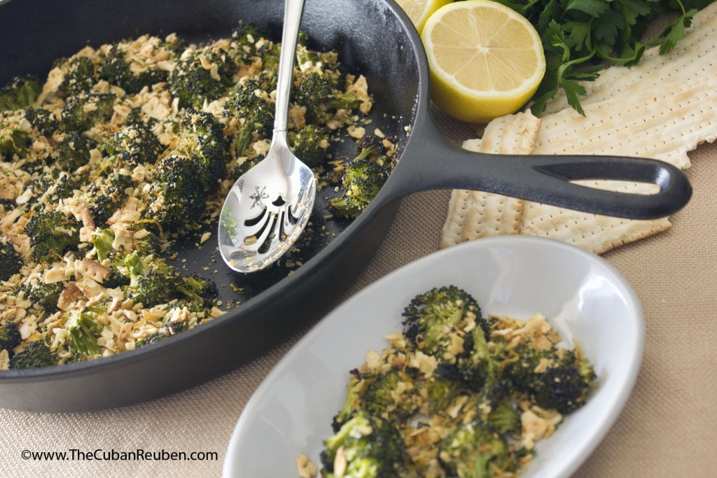 Roasted Broccoli Florets with Lemon Garlic Matzo Crumbs, featuring Yehuda Matzo